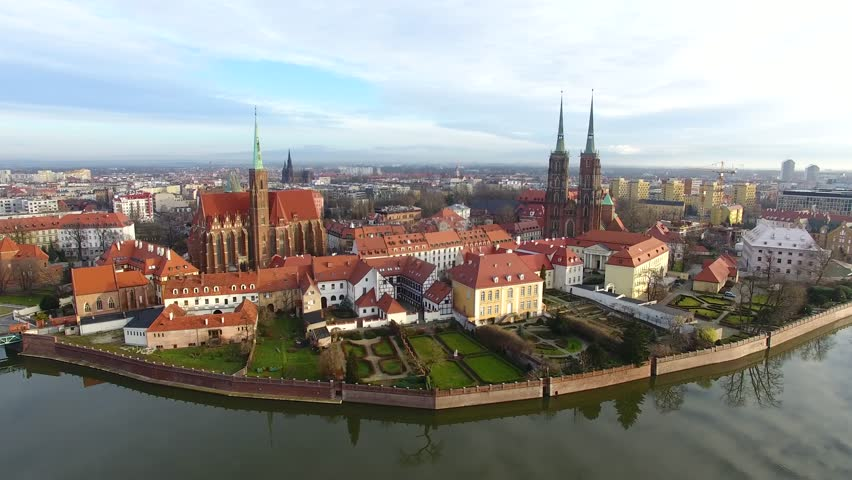 Aerial: Cathedral Island in Wroclaw, Poland