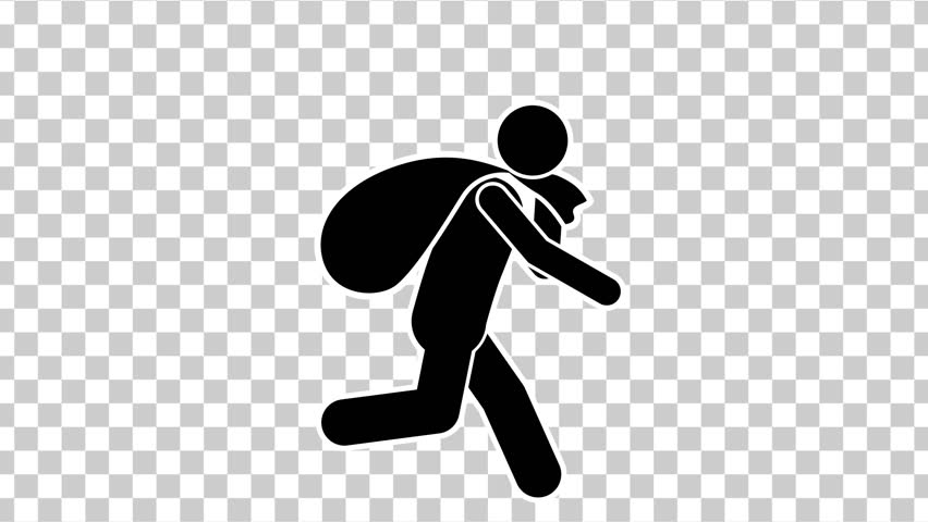 Black Stick Figure Character Walking Thief with Bag. Alpha Matte