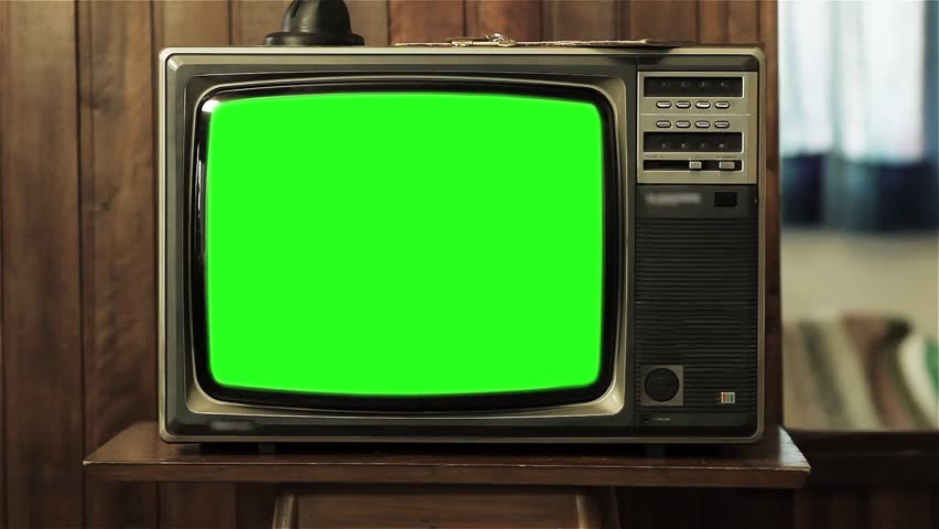 "80s Television with Green Screen. You can replace green screen with the footage or picture you want. You can do it with ""Keying"" (Chroma Key) effect in AE (check out tutorials on YouTube). Zoom In. 