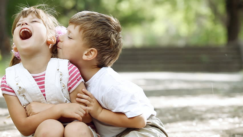 Two child have fun in park, outdoors | Shutterstock HD Video #3483281