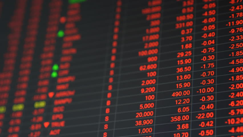 Economic crisis - Red stock market price board chart showing economic crisis of world stock. Bad economy and negative price down stock market situation. Traders are panic and selling their stock. | Shutterstock HD Video #34841692