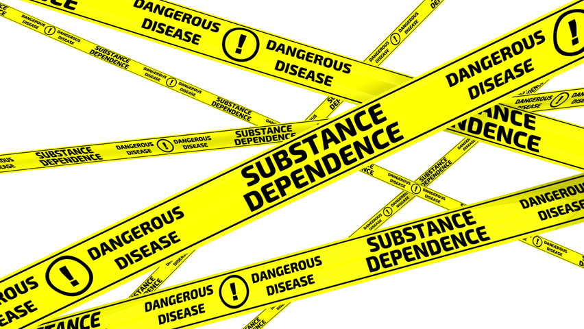Substance dependence. Dangerous disease. Yellow warning tapes with inscription SUBSTANCE DEPENDENCE. DANGEROUS DISEASE. Footage video | Shutterstock HD Video #34856371