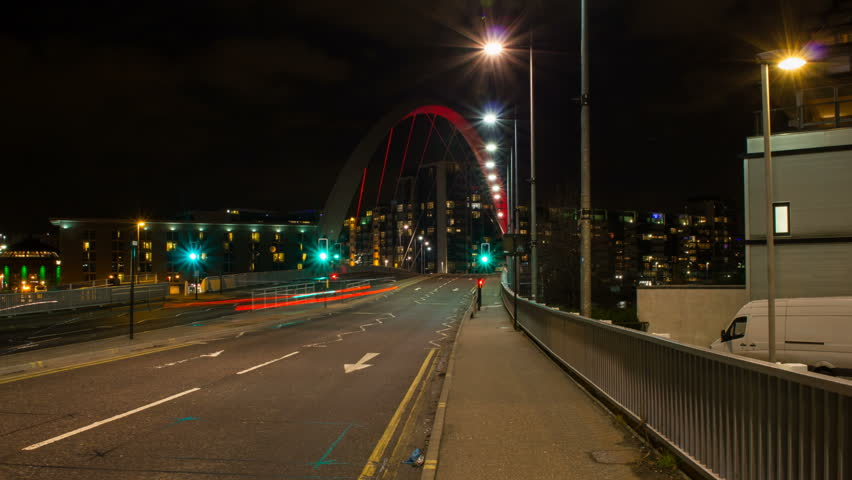 Squinty Bridge aka Clyde Arc timelapse in Glasgow Scotland at night