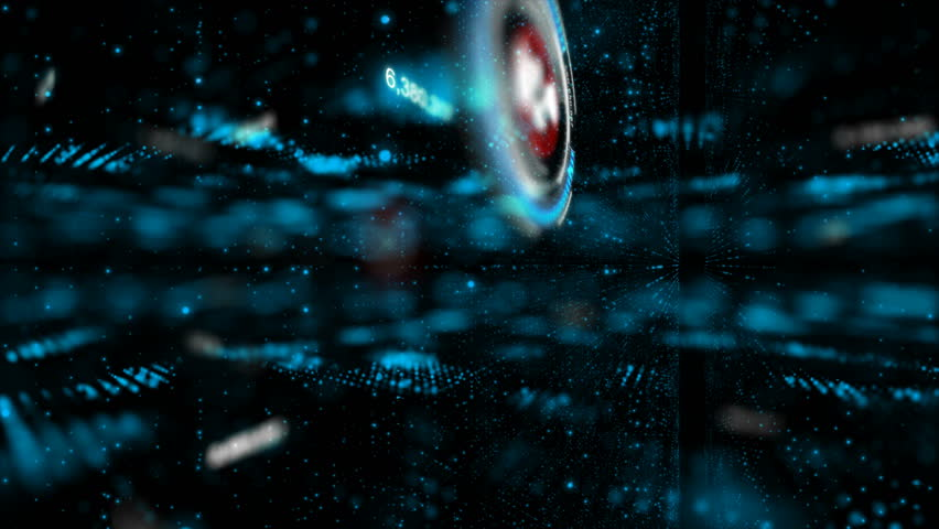 Abstract dark background flying pass through digital particle element for cyber digital technology concept with grain processed | Shutterstock HD Video #34866523