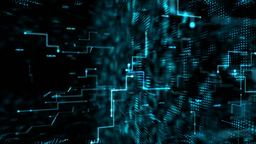 4K Animation 3D abstract dark background moving dot and line metaphor cyber futuristic data transfer network connection concept with grain processed   Shutterstock HD Video #34867732