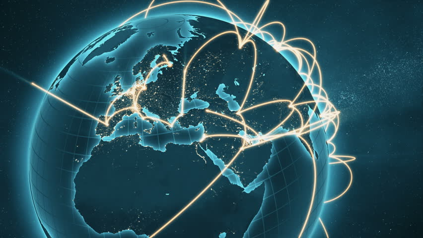 3d animation of a growing network across the world. Abstract global business network concept. New and improved 4K blue and orange version