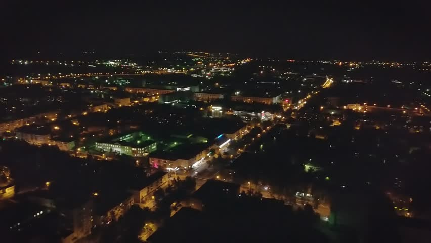 Night panorama of the city. Aerial view. Russia, Saransk., From Dron   Shutterstock HD Video #34882276
