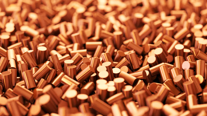 03095 Close up of pure copper cylindrical granulate. CG loopable animation.