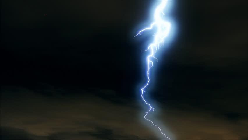 Bright lightning flashing in dark sky. #34899976