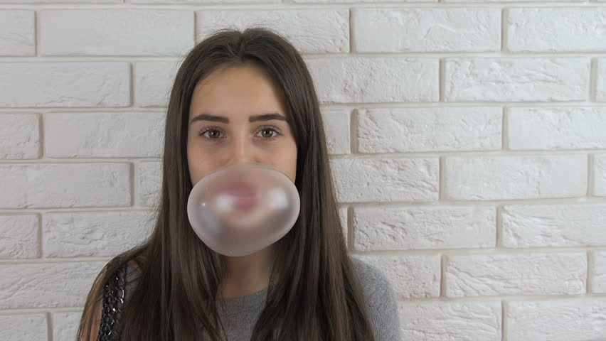 Bubble gum woman stock photos and images