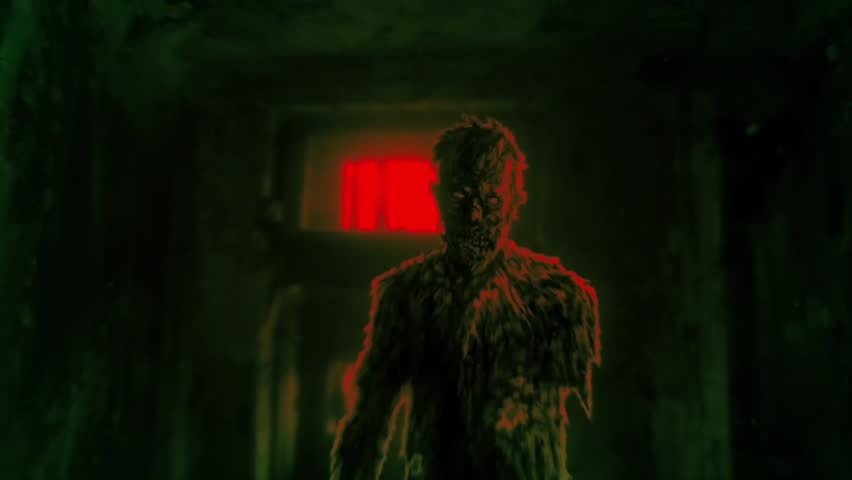 Dark zombie entered room of abandoned house 2D animation. Video clip in horror genre. Apocalyptic doomsday theme. Infection area. Danger zone. Scary animated backdrop movie. Green and red background. Royalty-Free Stock Footage #34912489