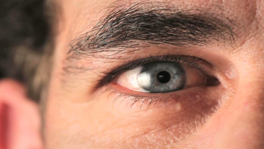 Closeup of man's eye moving looking around