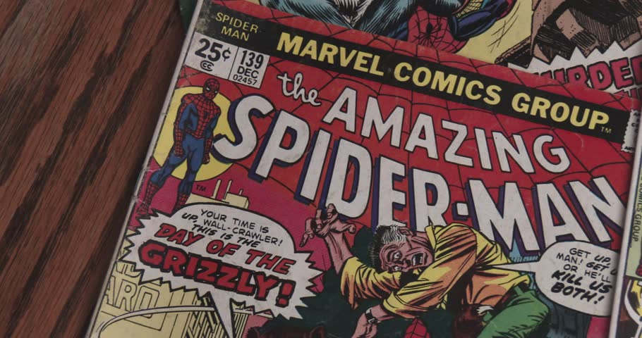 January 15, 2018, Bettendorf, Iowa, Amazing Spider Man Comic Books - Close Up Pan - Vintage | Shutterstock HD Video #34919881