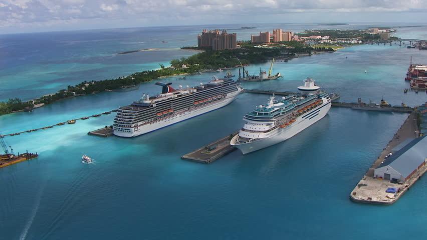 Bahamas - September 2017: Aerial view of docked cruise ships Nassau Cruise Ship Port Terminal and Paradise Island Atlantis Hotel Bahamas Caribbean