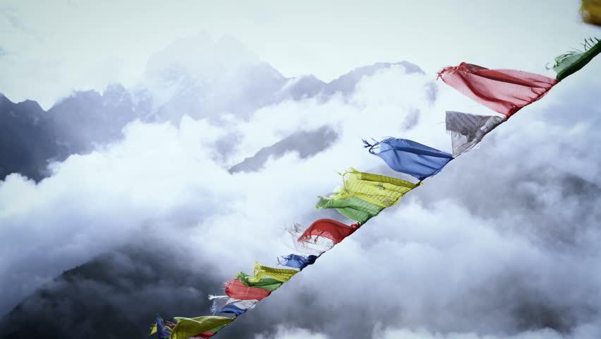 Prayer Flags on Himalayan Mountain Sky, Everest Base Camp Trek From Namche Bazaar to Tengboche , Nepal | Shutterstock HD Video #34948231
