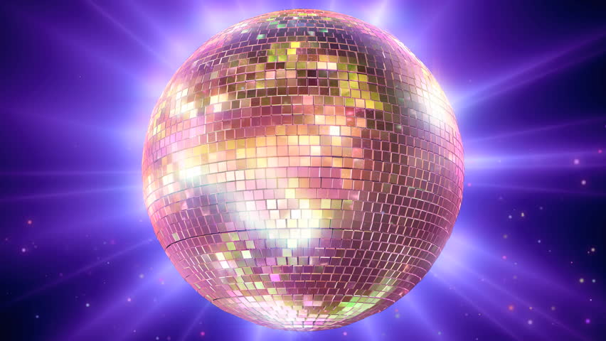 Purple and Pink mirror ball rotating with floating particles #3495020