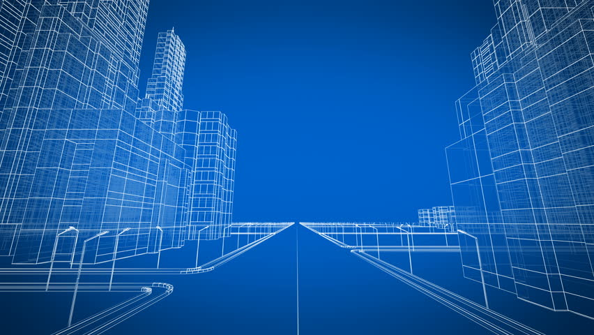 Moving Through the Growing Modern City Digital 3d Blueprint. Construction and Technology Concept. Blue color 3d animation. 4k UHD 3840x2160. | Shutterstock HD Video #34959121