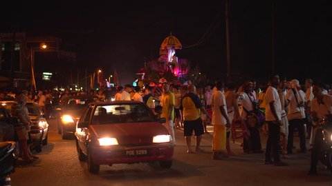 TAIPING, MALAYSIA - 26 October 2017: Malaysia Indian Worshipper Getting Ready Their Parade Car On The Street During Nine Emperor Gods Birthday