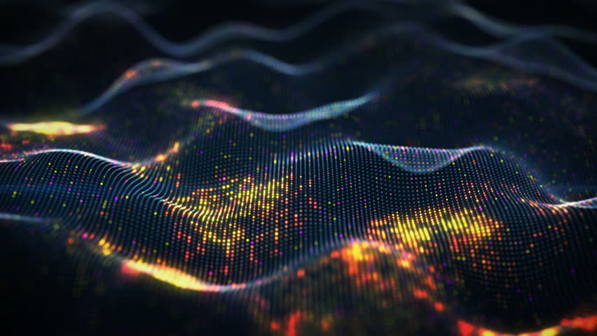 Abstract glowing virtual neural network. Futuristic coding or Artificial Intelligence concept. Seamless loop 3D animation rendered with DOF 4k (4096x2304) #34964932