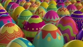 Colorful background with Easter eggs. High quality 3d animation, looped. Check out my channel, other easter videos.