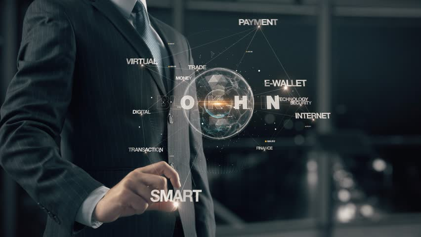 Businessman with Blockchain Royalty-Free Stock Footage #34981030