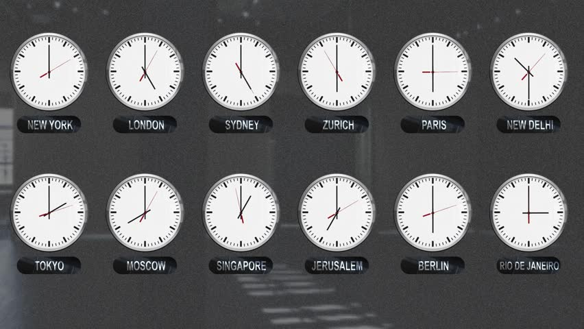 Accurate Clocks with Different Time Zones All over the World  | Shutterstock HD Video #34989460
