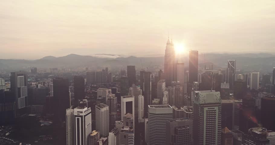 Aerial view. Panorama of Kuala Lumpur at sunset. Malaysia Cinematic style. | Shutterstock HD Video #35019937