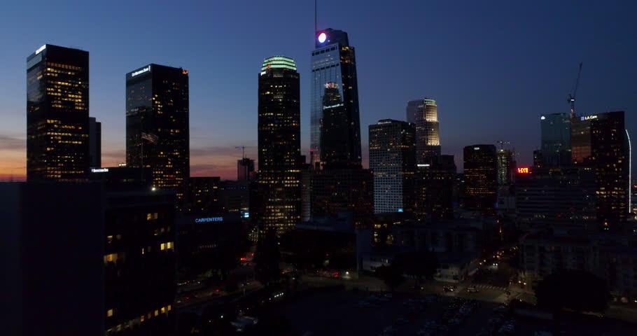 Los Angeles Skyline Sunrise Aerial Drone Sunset Shot Downtown