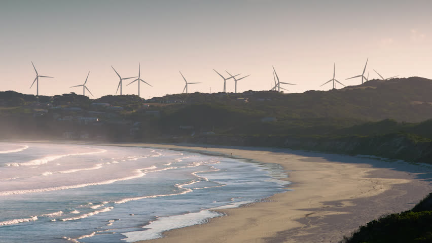 Cape Bridgewater Australia wind towers at sunrise. | Shutterstock HD Video #35060848