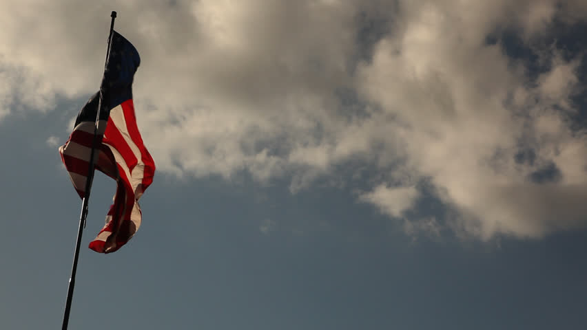 Backlit Elegant Nylon American Flag Waving the Wind with Plenty of Room for your Copy. #350632