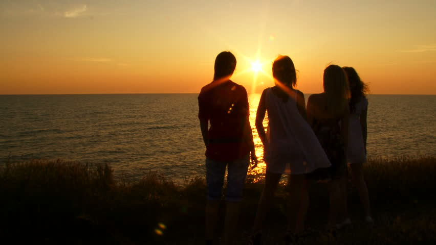 Four Women Admiring Sunset On Stock Footage Video (100% Royalty ...