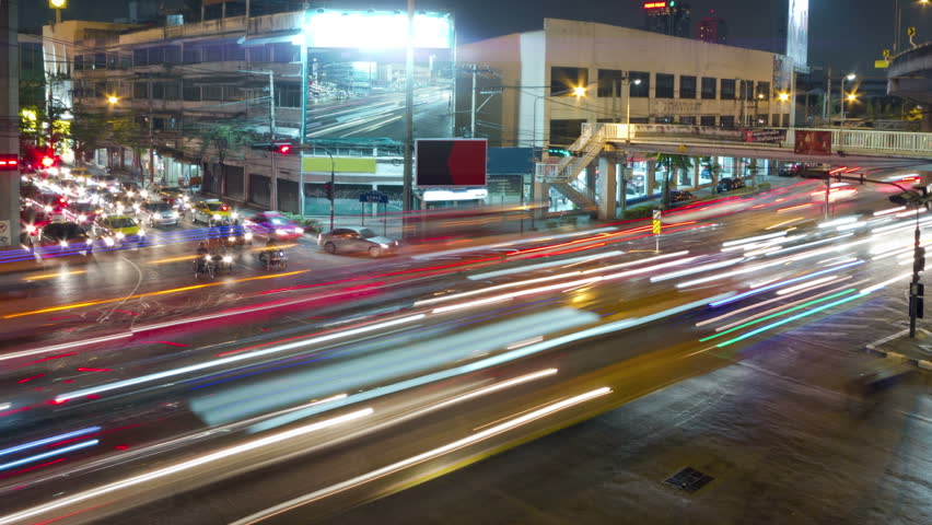 Evening traffic and traffic lights on the Bangkok crossroads, timelapse | Shutterstock HD Video #3520457
