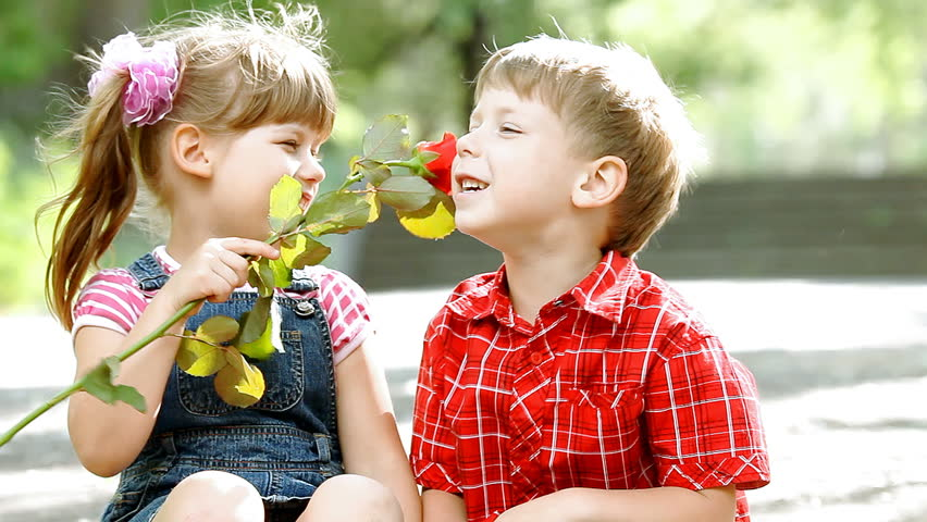 Two children speaking and boy presents flower | Shutterstock HD Video #3542858