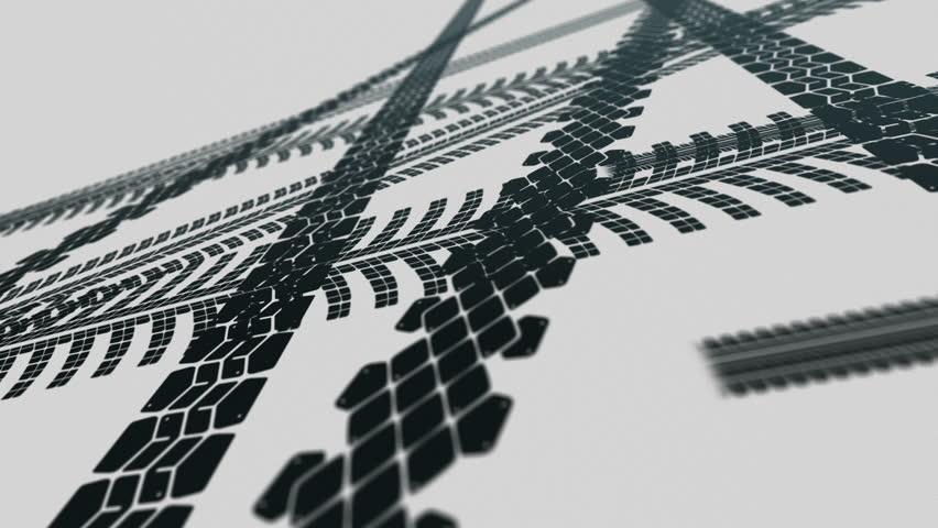 Animated tire tracks on white background