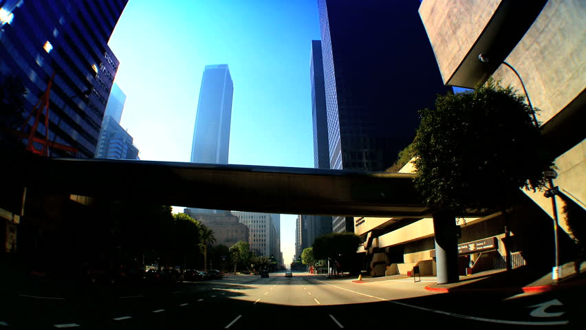 Point-of-view with fish-eye of driving in downtown Los Angeles