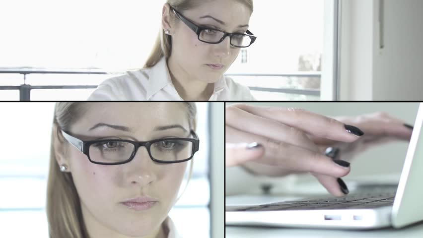 Busyness women working on computer at office desk typing on laptop secretary sales person assistance attractive agent administration female model white background office company | Shutterstock HD Video #3568145