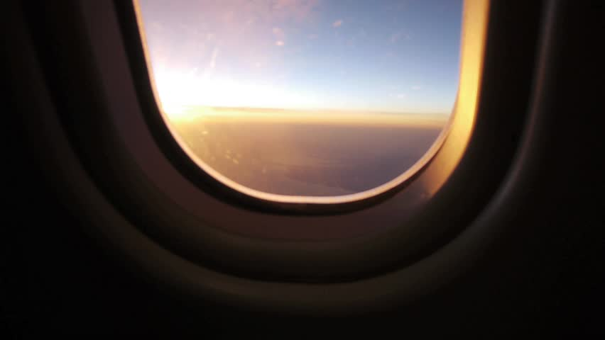 Airplane Window View At Sunset Stock Footage Video 100 Royalty