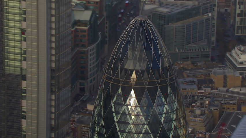 A wide shot aerial view of the London financial district and some of London's most famous buildings | Shutterstock HD Video #3579026