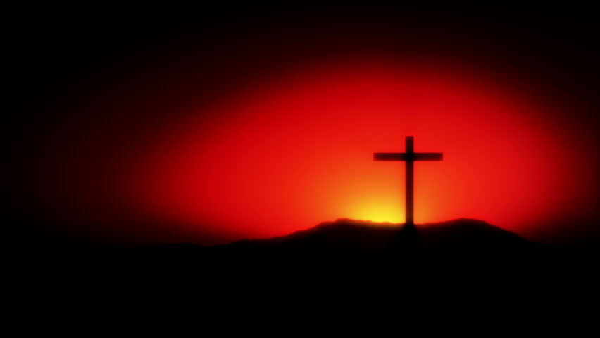 Holy Cross On Top Of A Hill With A Bright Sunrise Rising Behind The Cross (Animation)
