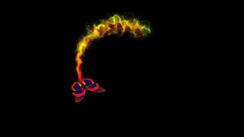 flight of a butterfly around with beautiful particles with alpha channel