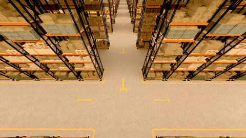 Warehouse interior 3d loopable animation. Camera is moving forward.