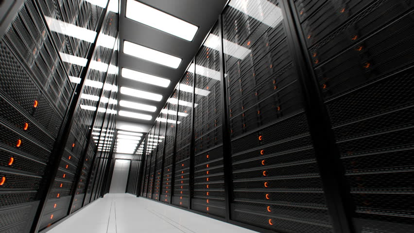 Animation presenting data servers while working. LED lights are flashing. Video can represent cloud computing, information storage, etc. or can be the perfect technology background.  | Shutterstock HD Video #3633311