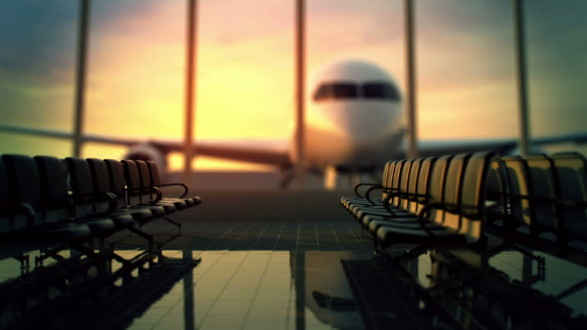 Animation of modern airport terminal with black leather seats and a huge viewing glass facade. #3633740