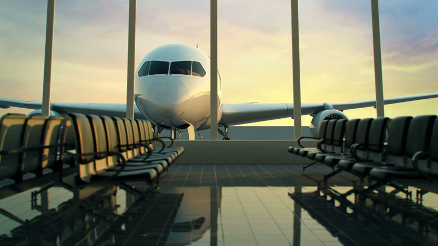 Animation of modern airport terminal with black leather seats and a huge viewing glass facade.