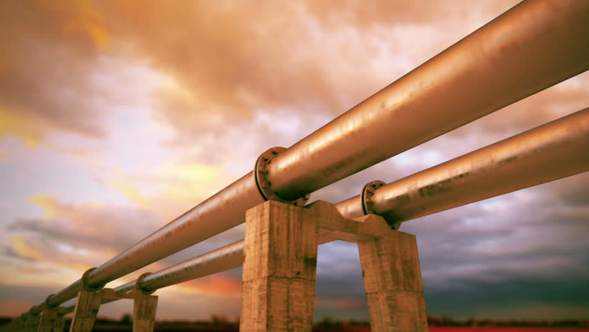 Pipeline transportation is most common way of transporting goods such as Oil, natural gas or water on long distances. Camera is slowly moving along the pipeline. Animation is loopable.