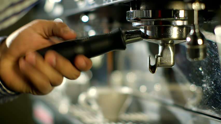 Barista makes two coffees in coffee bar      Royalty-Free Stock Footage #3640316