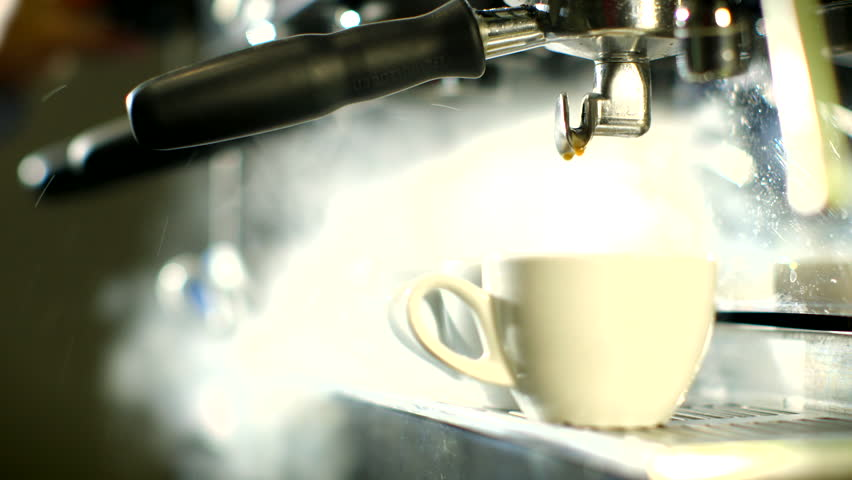 Blast of steam on coffee machine