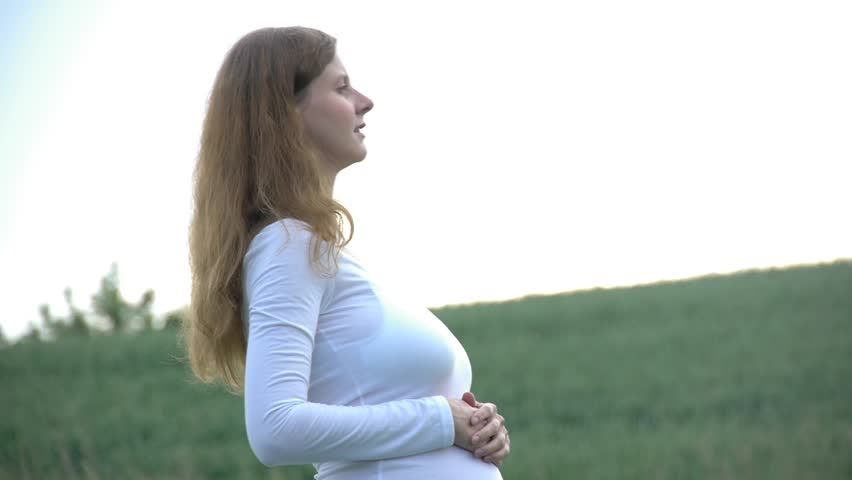 HD1080 7 months pregnant woman outdoor in nature   Shutterstock HD Video #3642782