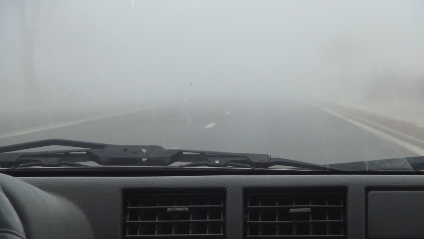 POV of Car Driving in Fog on Road, Foggy, Misty, Motion, Windshield View
