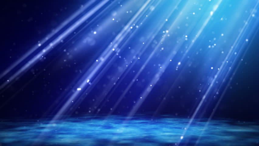 Loopable background flying blue particles in light beams